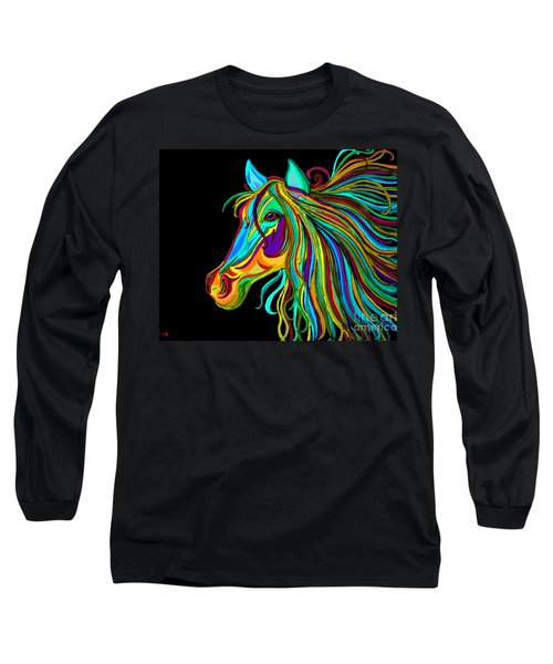 Colorful Horse Head 2 Long Sleeve T-Shirt by Nick Gustafson