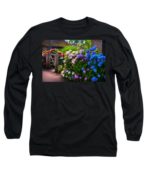 Colorful Hydrangea At The Gate. Giethoorn. Netherlands Long Sleeve T-Shirt