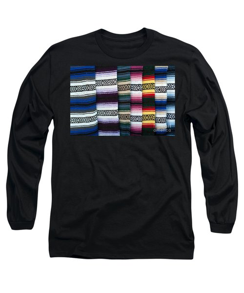 Long Sleeve T-Shirt featuring the photograph Colorful Indian Rug Display by Gunter Nezhoda