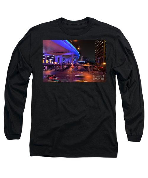Colorful Night Traffic Scene In Shanghai China Long Sleeve T-Shirt by Imran Ahmed