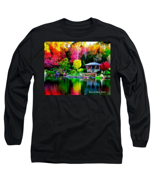 Long Sleeve T-Shirt featuring the painting Colorful Park At The Lake by Bruce Nutting