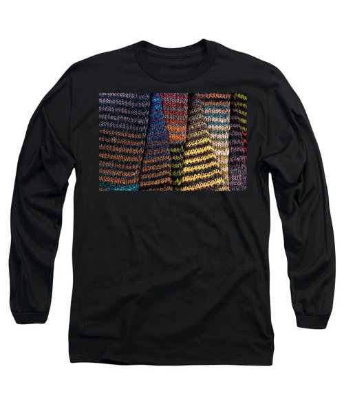 Long Sleeve T-Shirt featuring the photograph Colorful Scarves by Les Palenik