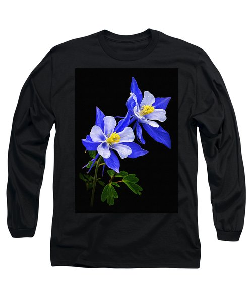 Long Sleeve T-Shirt featuring the photograph Columbine Duet by Priscilla Burgers