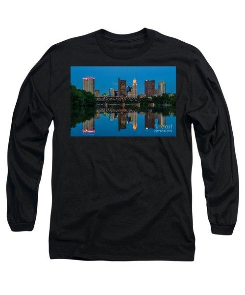 Columbus Ohio Night Skyline Photo Long Sleeve T-Shirt
