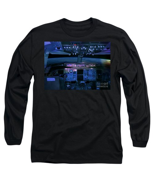 Commercial Airplane Cockpit By Night Long Sleeve T-Shirt
