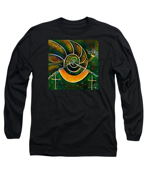 Long Sleeve T-Shirt featuring the painting Communicator Spirit Eye by Deborha Kerr