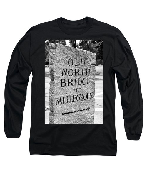 Concord Ma Old North Bridge Marker Black And White Long Sleeve T-Shirt