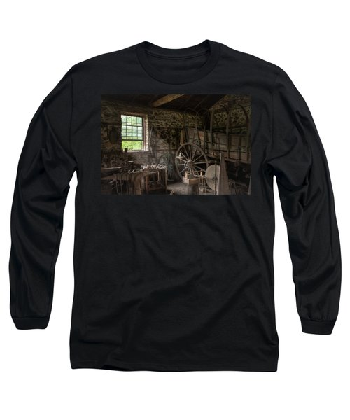 Long Sleeve T-Shirt featuring the photograph Conestoga Wagon At The Blacksmith - Wagon Repair by Gary Heller