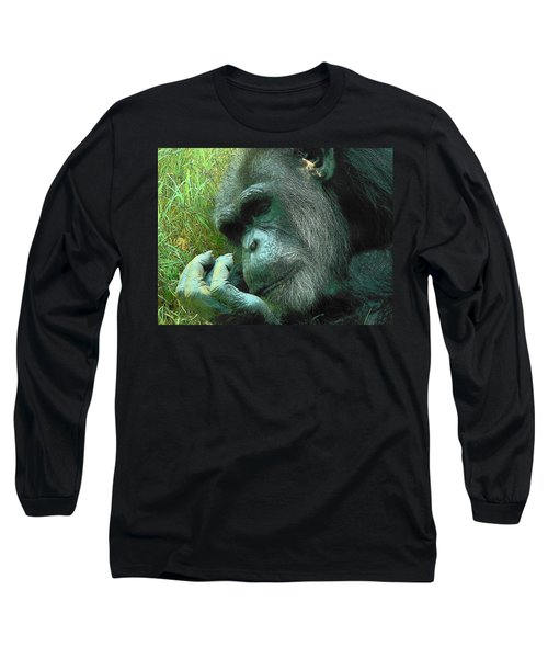 Long Sleeve T-Shirt featuring the photograph Contemplative Chimp by Rodney Lee Williams