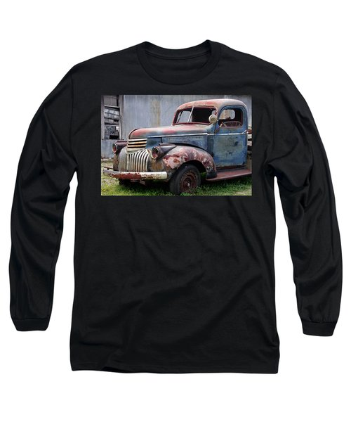 Long Sleeve T-Shirt featuring the photograph Cool Blue Chevy by Steven Bateson