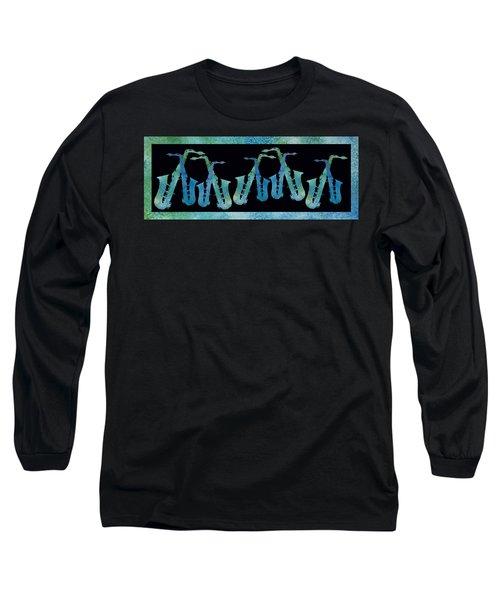 Cool Blue Saxophone String Long Sleeve T-Shirt