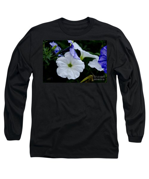 Long Sleeve T-Shirt featuring the photograph Cool Summer Petunias by Wilma  Birdwell