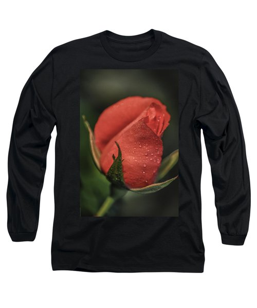 Coral Rosebud Long Sleeve T-Shirt by Debbie Karnes