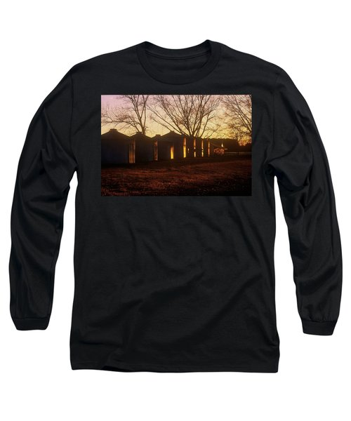Long Sleeve T-Shirt featuring the photograph Corn Cribs At Sunset by Rodney Lee Williams