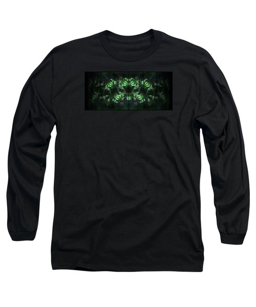 Cosmic Alien Eyes Green Long Sleeve T-Shirt by Shawn Dall