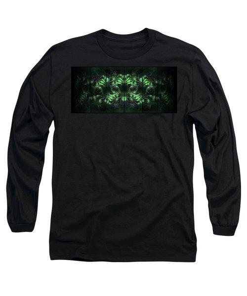 Long Sleeve T-Shirt featuring the digital art Cosmic Alien Eyes Green by Shawn Dall