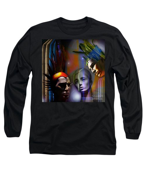 Long Sleeve T-Shirt featuring the digital art Cosmic Mannequins Triad by Rosa Cobos