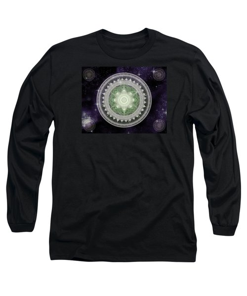 Cosmic Medallions Earth Long Sleeve T-Shirt by Shawn Dall