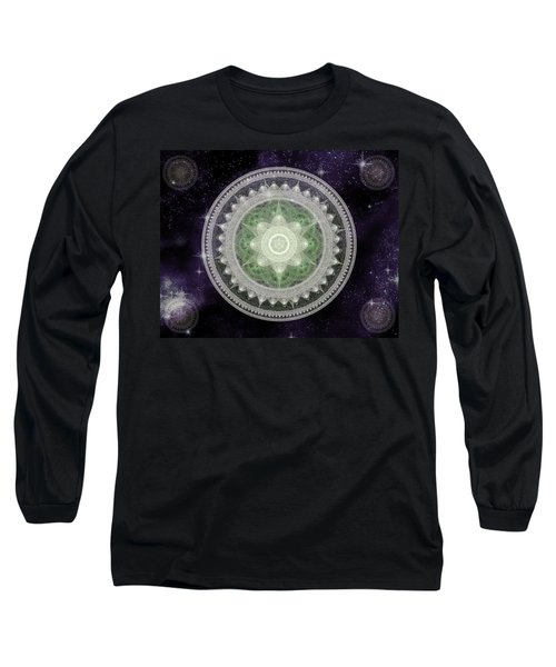 Long Sleeve T-Shirt featuring the digital art Cosmic Medallions Earth by Shawn Dall