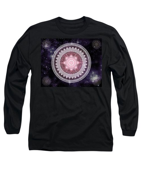 Long Sleeve T-Shirt featuring the digital art Cosmic Medallions Fire by Shawn Dall