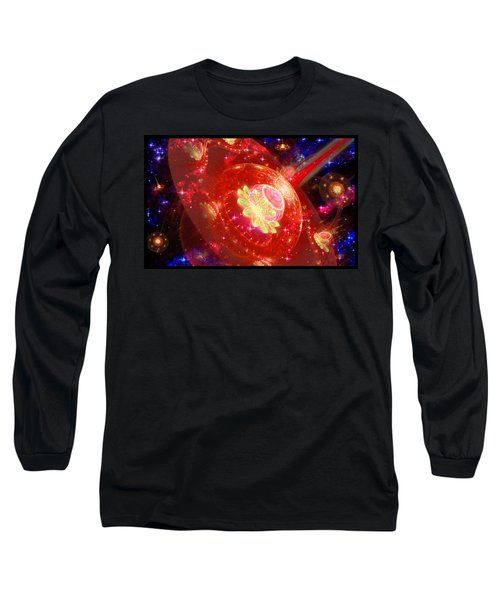Long Sleeve T-Shirt featuring the digital art Cosmic Space Station 2 by Shawn Dall