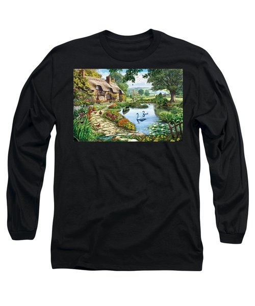 Cottage By The Lake Long Sleeve T-Shirt by Steve Crisp