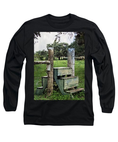 Long Sleeve T-Shirt featuring the photograph Country Farm Fence Stile Crossing by Ella Kaye Dickey