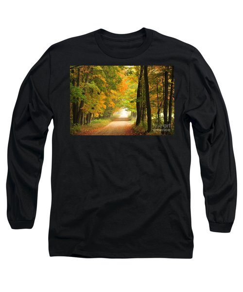 Long Sleeve T-Shirt featuring the photograph Country Road In Autumn by Terri Gostola