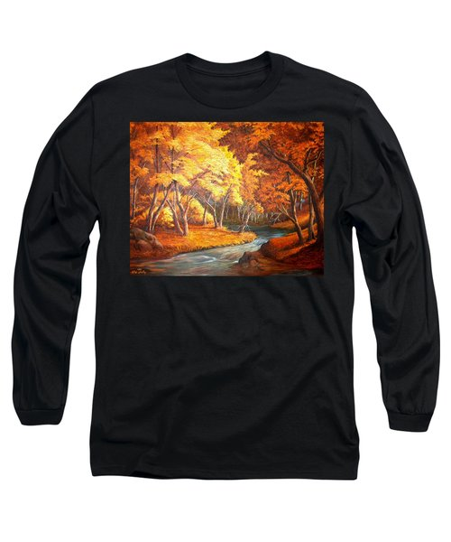 Country Stream In The Fall Long Sleeve T-Shirt by Loxi Sibley