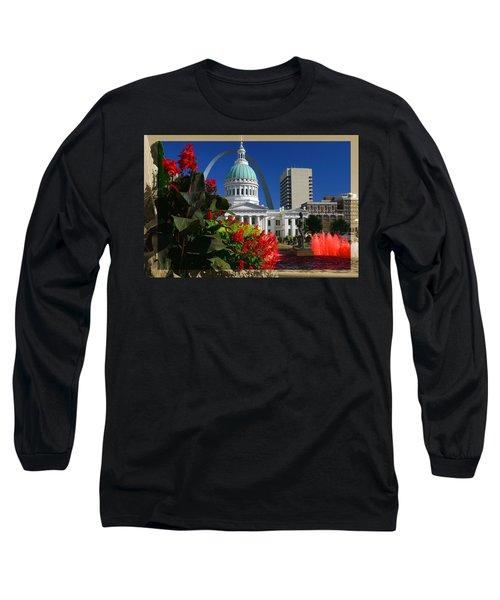 Courthouse Arch Skyline Fountain Long Sleeve T-Shirt