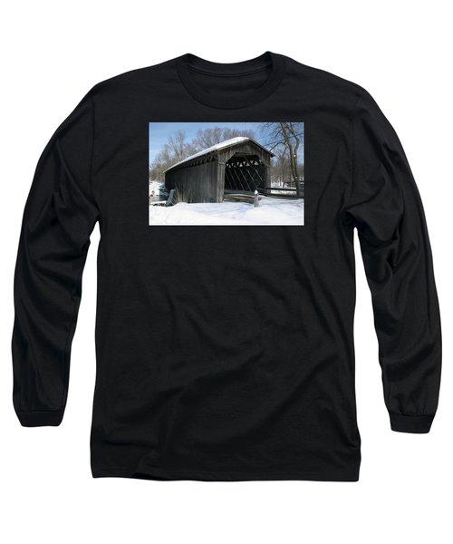 Covered Bridge In Winter Long Sleeve T-Shirt