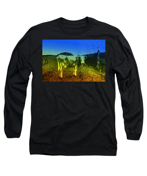 Long Sleeve T-Shirt featuring the digital art Cow On Lsd by Cathy Anderson