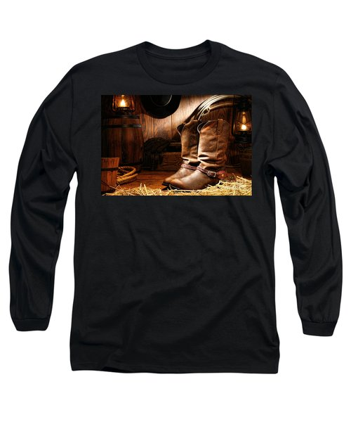 Cowboy Boots In A Ranch Barn Long Sleeve T-Shirt