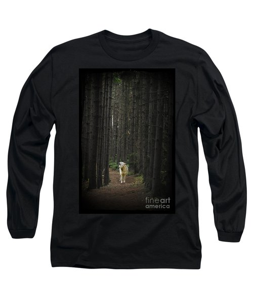 Coyote Howling In Woods Long Sleeve T-Shirt