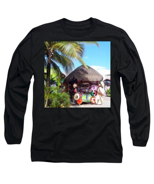 Long Sleeve T-Shirt featuring the photograph Cozumel Souvernir Shopping by Debra Martz