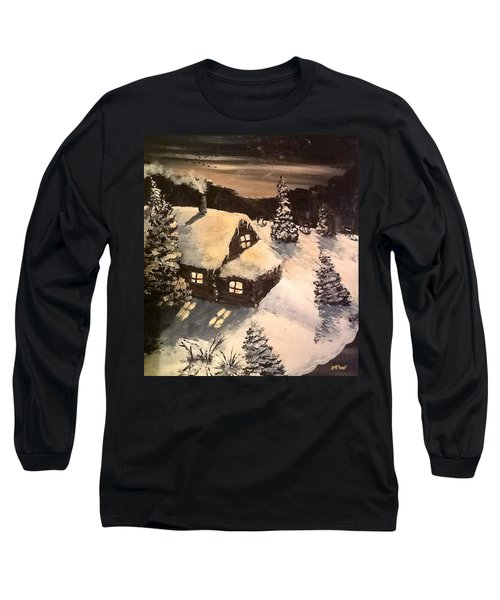 Long Sleeve T-Shirt featuring the painting Cozy Cabin by Megan Walsh
