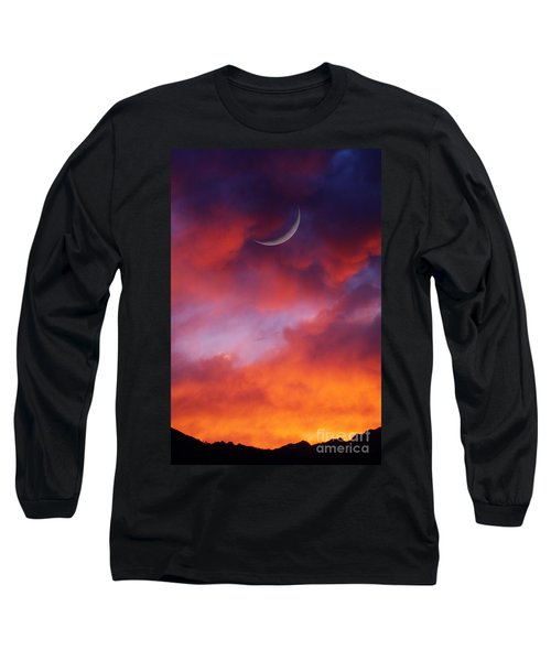 Long Sleeve T-Shirt featuring the photograph Crescent Moon In Purple by Joseph J Stevens