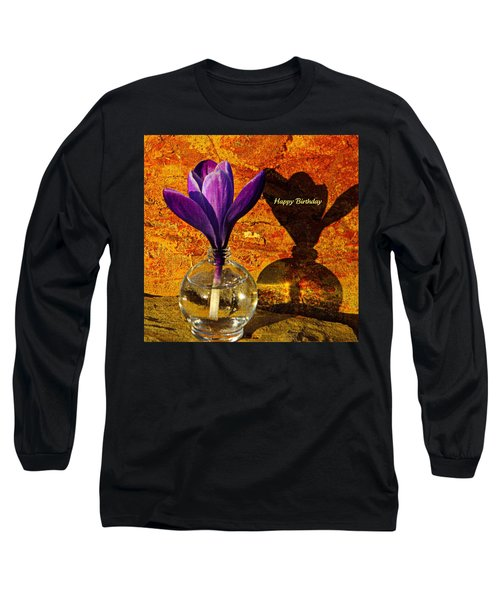 Crocus Floral Birthday Card Long Sleeve T-Shirt by Chris Berry