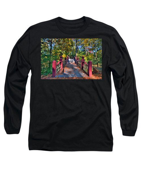 Crossing The Crim Dell Bridge Long Sleeve T-Shirt by Jerry Gammon