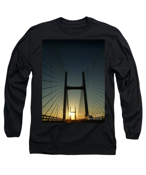 Crossing The Severn Bridge At Sunset - Cardiff - Wales Long Sleeve T-Shirt by Vicki Spindler