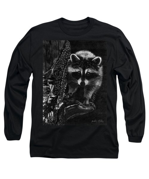 Curious Raccoon Long Sleeve T-Shirt by Dustin Miller
