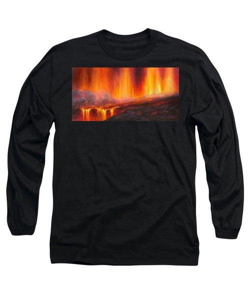 Erupting Kilauea Volcano On The Big Island Of Hawaii - Lava Curtain Long Sleeve T-Shirt