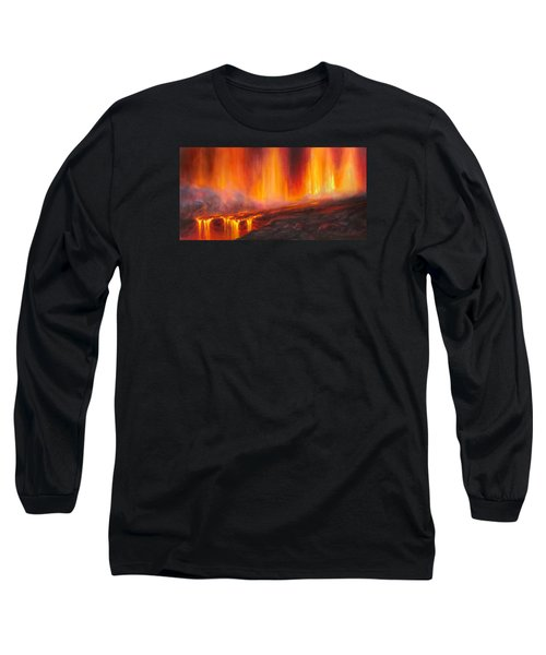 Erupting Kilauea Volcano On The Big Island Of Hawaii - Lava Curtain Long Sleeve T-Shirt
