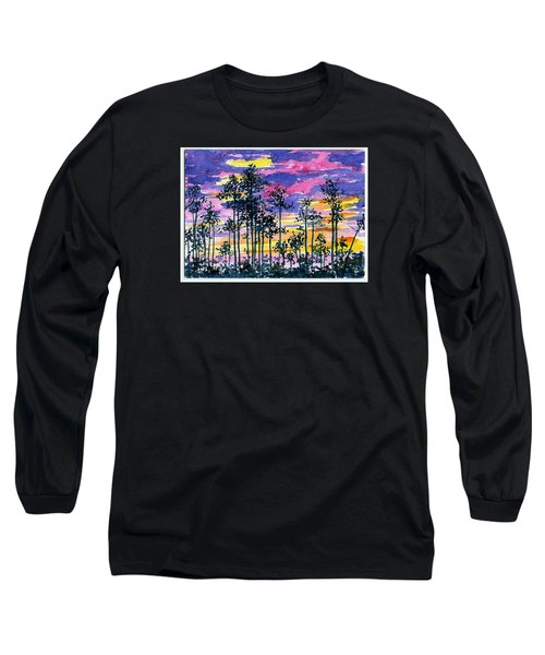 Cypress Sunset Long Sleeve T-Shirt by Anne Marie Brown
