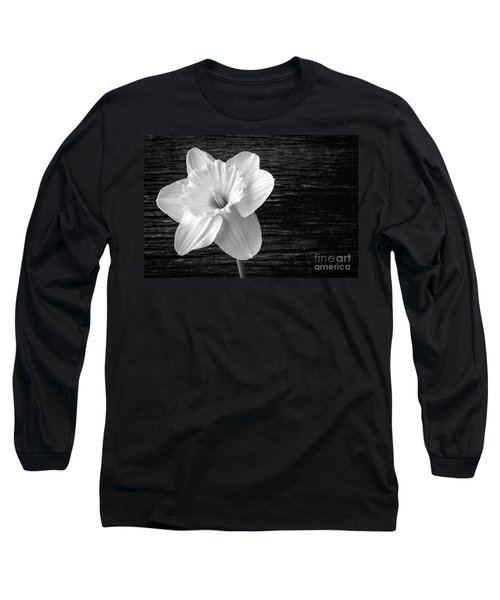 Daffodil Narcissus Flower Black And White Long Sleeve T-Shirt