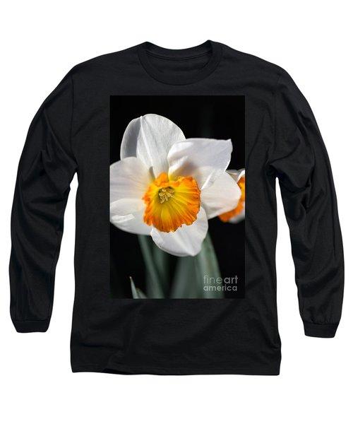 Daffodil In White Long Sleeve T-Shirt by Joy Watson