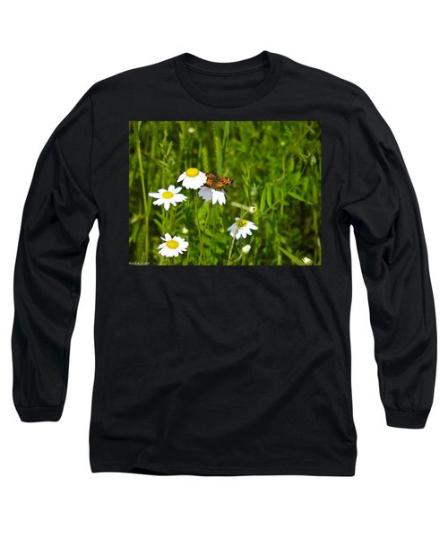 Daisey And Butterfly Long Sleeve T-Shirt by Nick Kirby