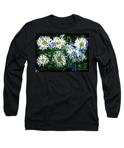 Daisies With Blue Flax And Bee Long Sleeve T-Shirt