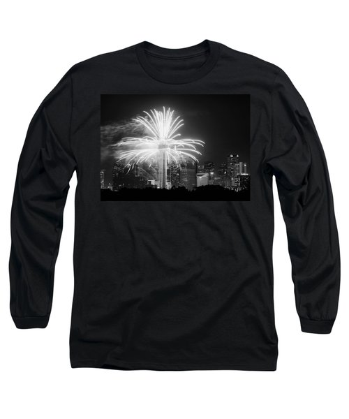 Dallas Reunion Tower Fireworks Bw 2014 Long Sleeve T-Shirt
