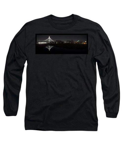Dallas Skyline Hunt Bridge Color Long Sleeve T-Shirt